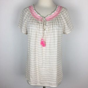 Vineyard Vines Stripe Embroidered Top Small